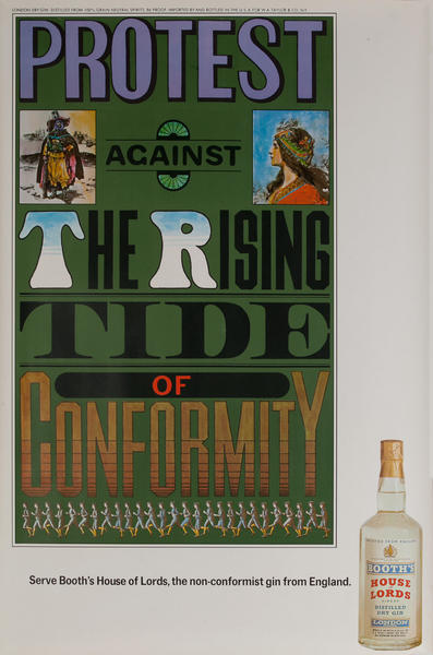 Protest Against the Rising Tide of Conformity, Original Booth's Gin Advertising Poster