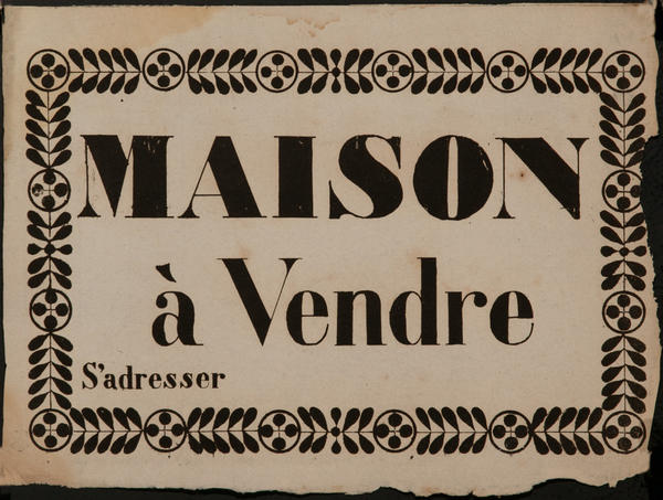 Maison a Vendre, House for Sale, Original French Woodblock Poster