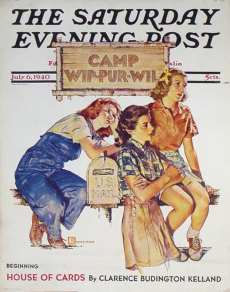Saturday Evening Post Original Advertising Poster July 6, 1940 Camp Wip-Pur-Wil
