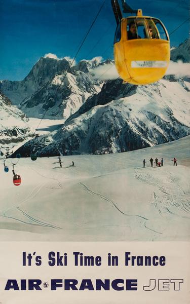 It's Ski Time in France, Air France Jet Original Travel Poster