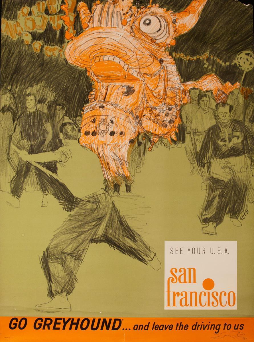 Original Greyhound Bus Poster, See Your USA, San Francisco Chinese Dragon Float