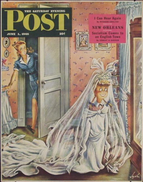 Saturday Evening Post Original Vintage Literary Poster June 1, 1946 Dress Up Time