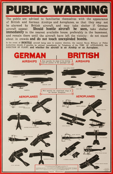 Original British WWI Poster Public Warning, Aircraft Observation Chart