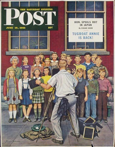 Saturday Evening Post Original Vintage Literary Poster June 15, 1946 Class Photo