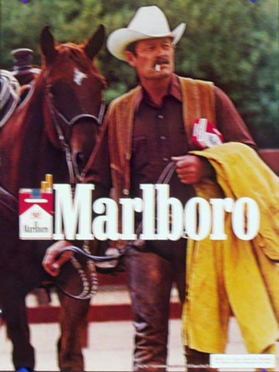 Marlboro Cigarette Cowboy Original Vintage Advertising Poster yellow slicker over arm