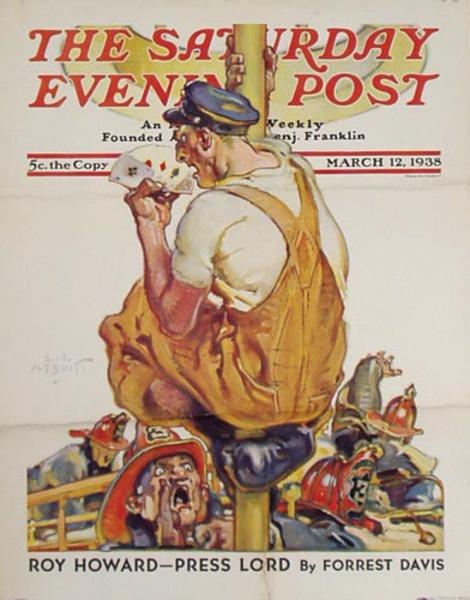 Saturday Evening Poster March 12 1938 Original Advertising Poster Fireman