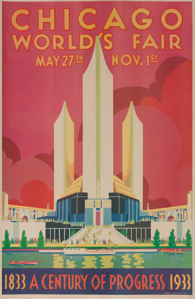 1933 Chicago World's Fair Travel Poster A Century of Progress red
