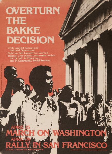 Overturn The Bakke Decision, Original Civil Rights Protest Poster