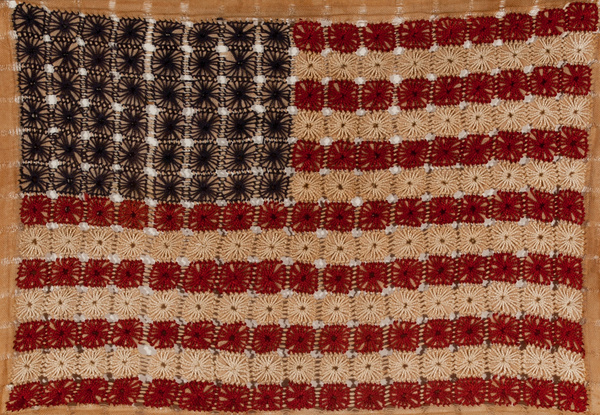 Hand Crocheted American Flag Folk Art