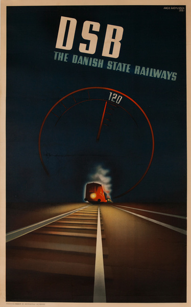 DSB The Danish State Railways Travel Poster 120 KPH