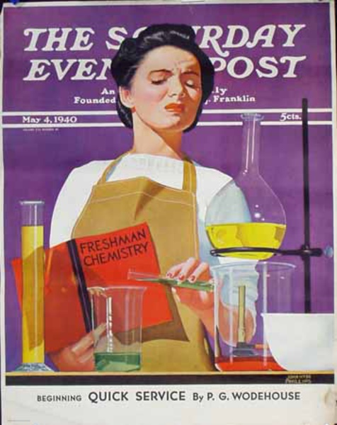 Saturday Evening Post Original Advertising Poster May 4 Chemistry lab Coeds