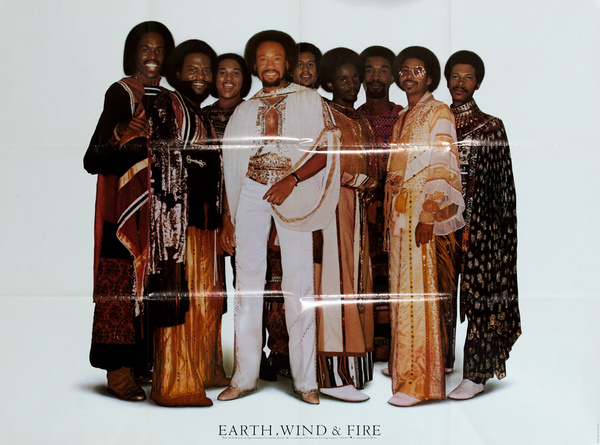 Earth Wind and Fire, Faces on Arc Record, Original Rock and Roll Poster