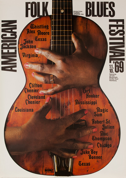 Original American Folk Blues Festival Poster, Guitar