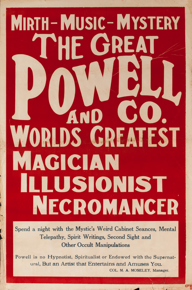 Mirth Music Mystery The Great Powell and Co. Worlds Greatest Magician, Illusionist, Necromancer, Original Poster