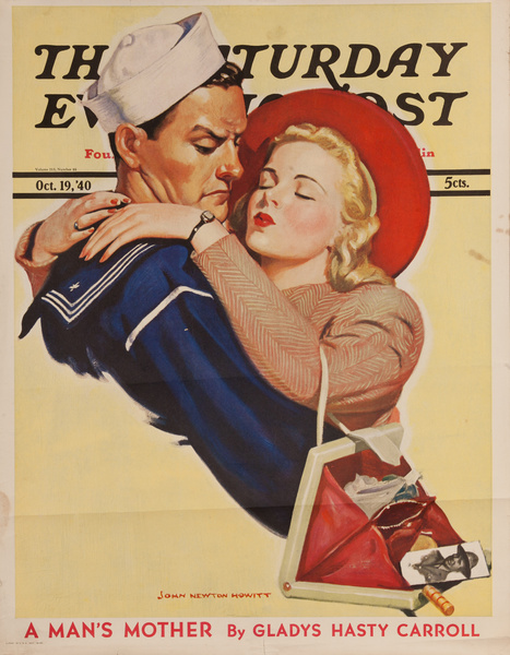 Saturday Evening Post Original Advertising Poster October 19, 1940 Sailor