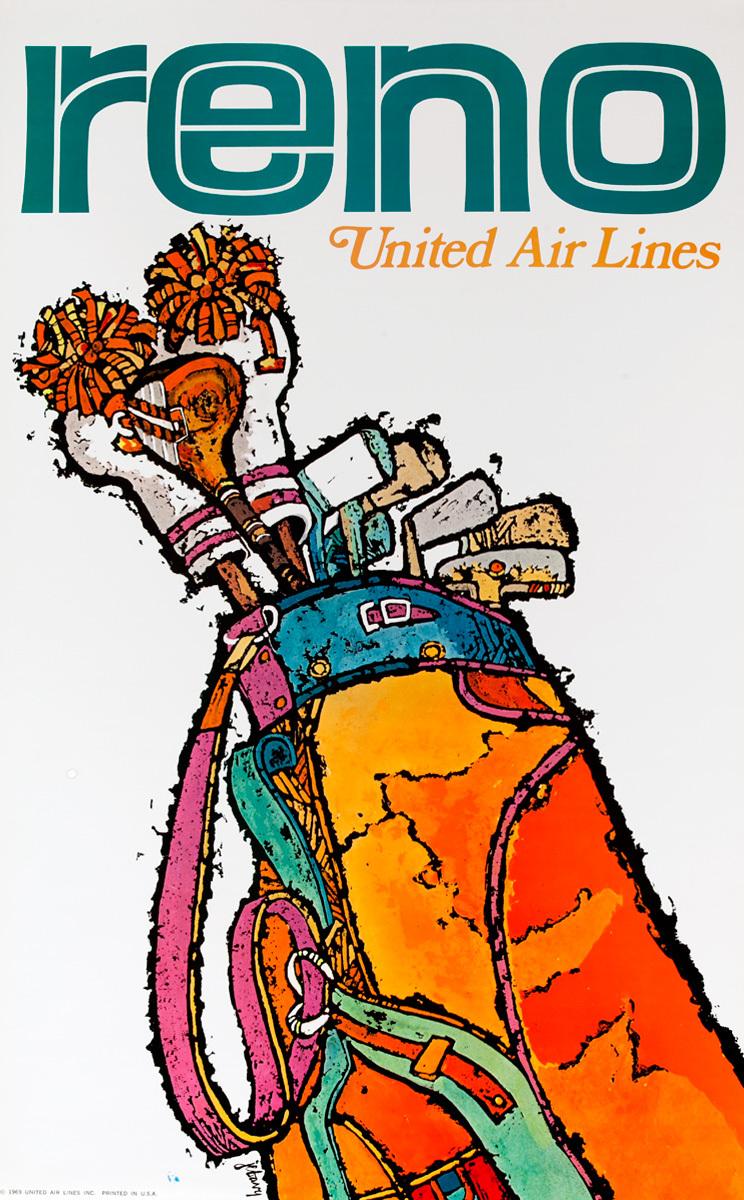 United Air Lines Original Travel Poster  Reno Golf Clubs
