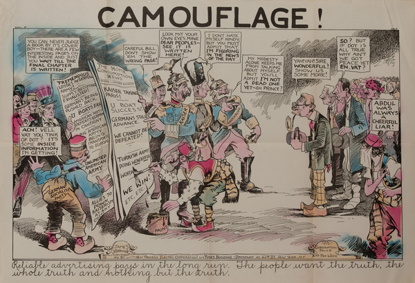 Camouflage,  Original American World War One Poster Cartoon