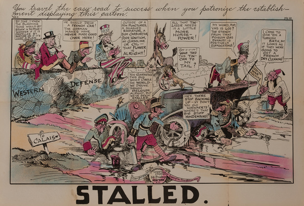 Stalled,  Original American World War One Poster Cartoon