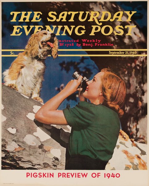 Saturday Evening Post September 21, 1940 Original Vintage Magazine Poster Pigskin Preview
