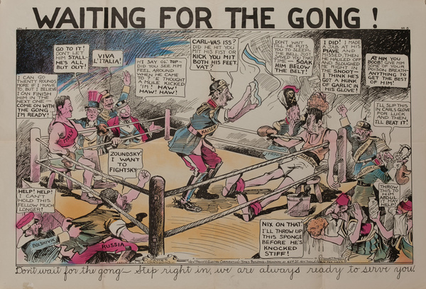 Waiting for the Gong, Original American World War One Poster Cartoon