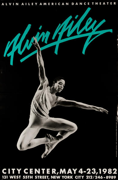 Alvin Ailey Dance, City Center 1982, Original American Dance Poster, blue