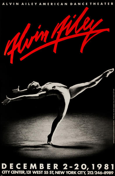 Alvin Ailey Dance, City Center 1981, Original American Dance Poster, red