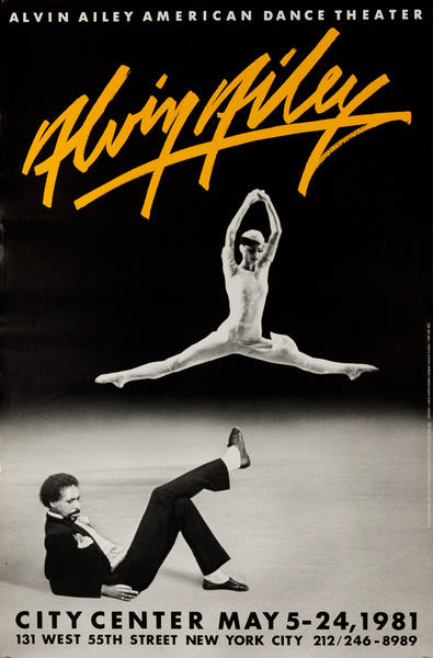 Alvin Ailey Dance, City Center 1982, Original American Dance Poster, yellow
