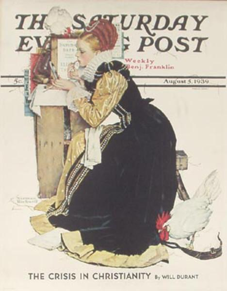 Saturday Evening Post August 5, 1939 Original Norman Rockwell Magazine Poster Summer Stock Actress