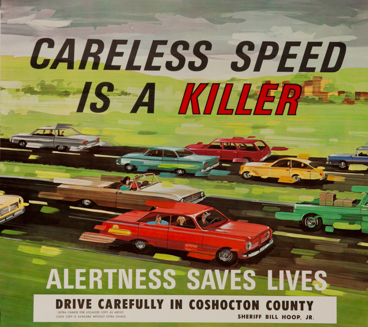 Careless Speed is a Killer, Alertness Saves Lives Original American Automobile Safety Poster