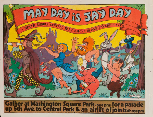 May Day is Jay Day Original Yipster Times Marijuana Protest Poster