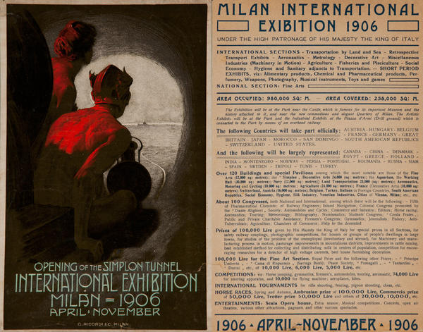 Simplon Tunnel International Exhibition Milan 1906 Original  Flyer
