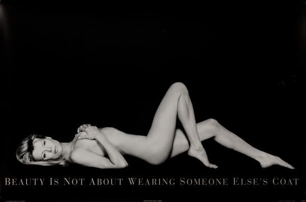 Beauty is Not About Wearing Somebody Else's Coat Original Peta Protest Poster Kim Basinger