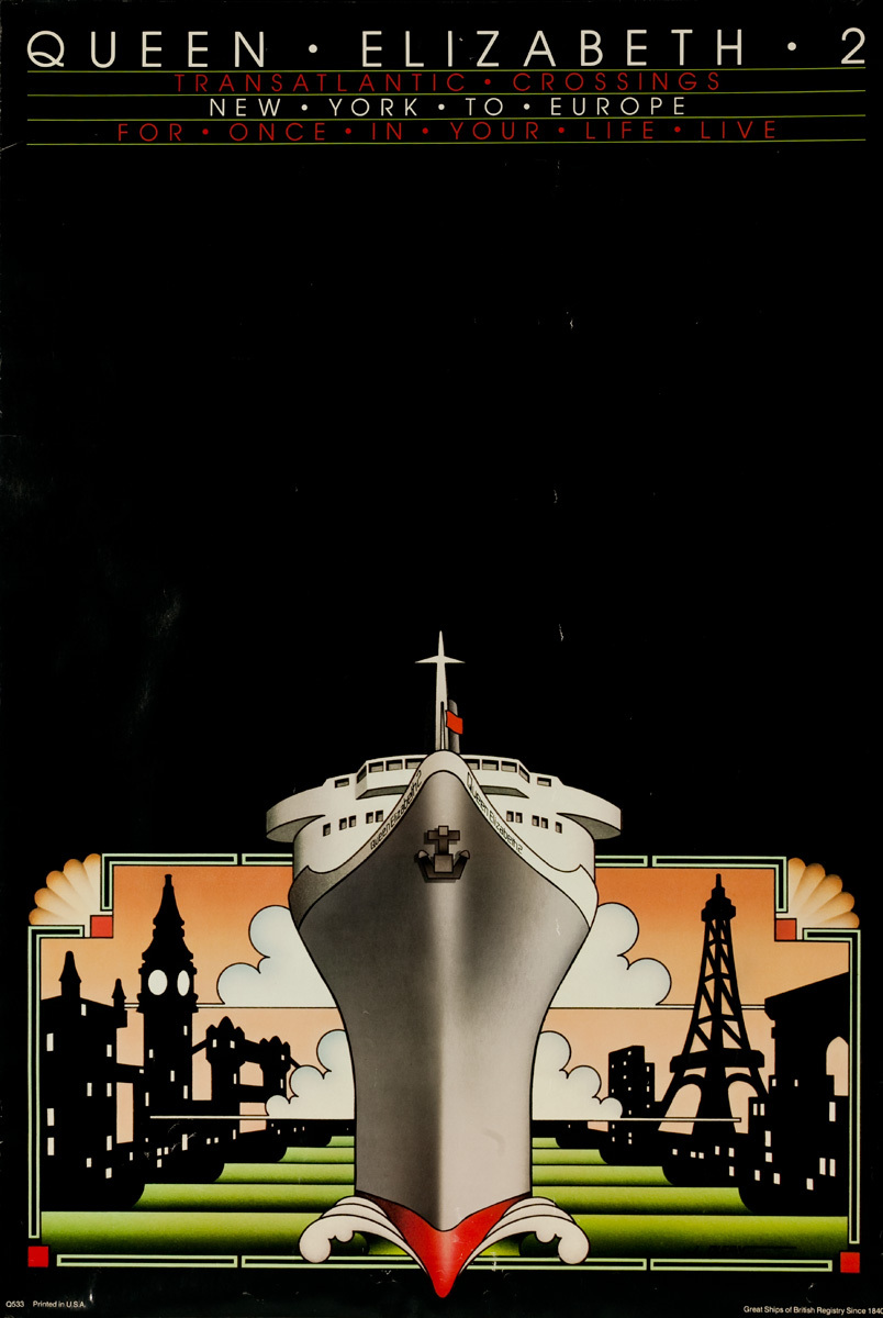 Cunard Queen Elizabeth 2 New York To Europe Original Travel Poster
