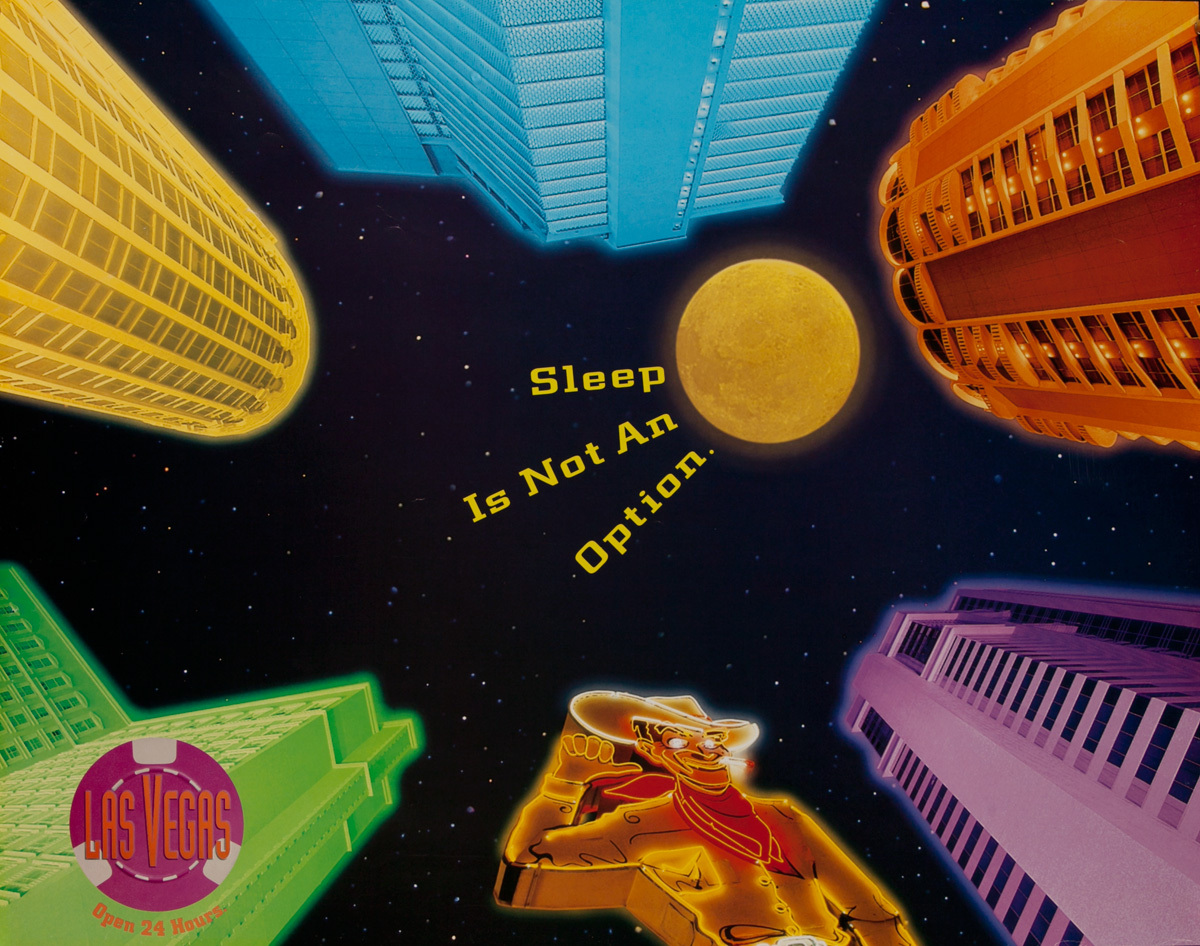 Las Vegas Open 24 Hours, Original American Travel Poster, Sleep is Not an Option