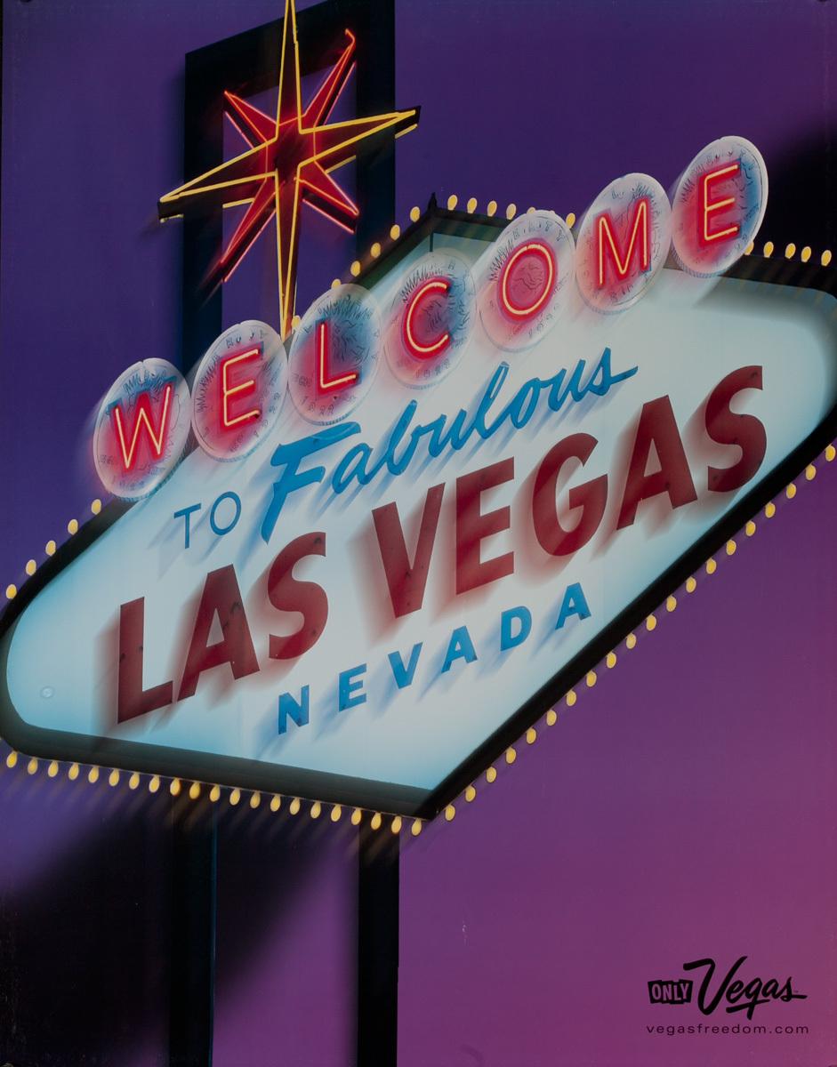 Las Vegas Open 24 Hours, Original American Travel Poster, Welcome to Fabulous Las Vegas