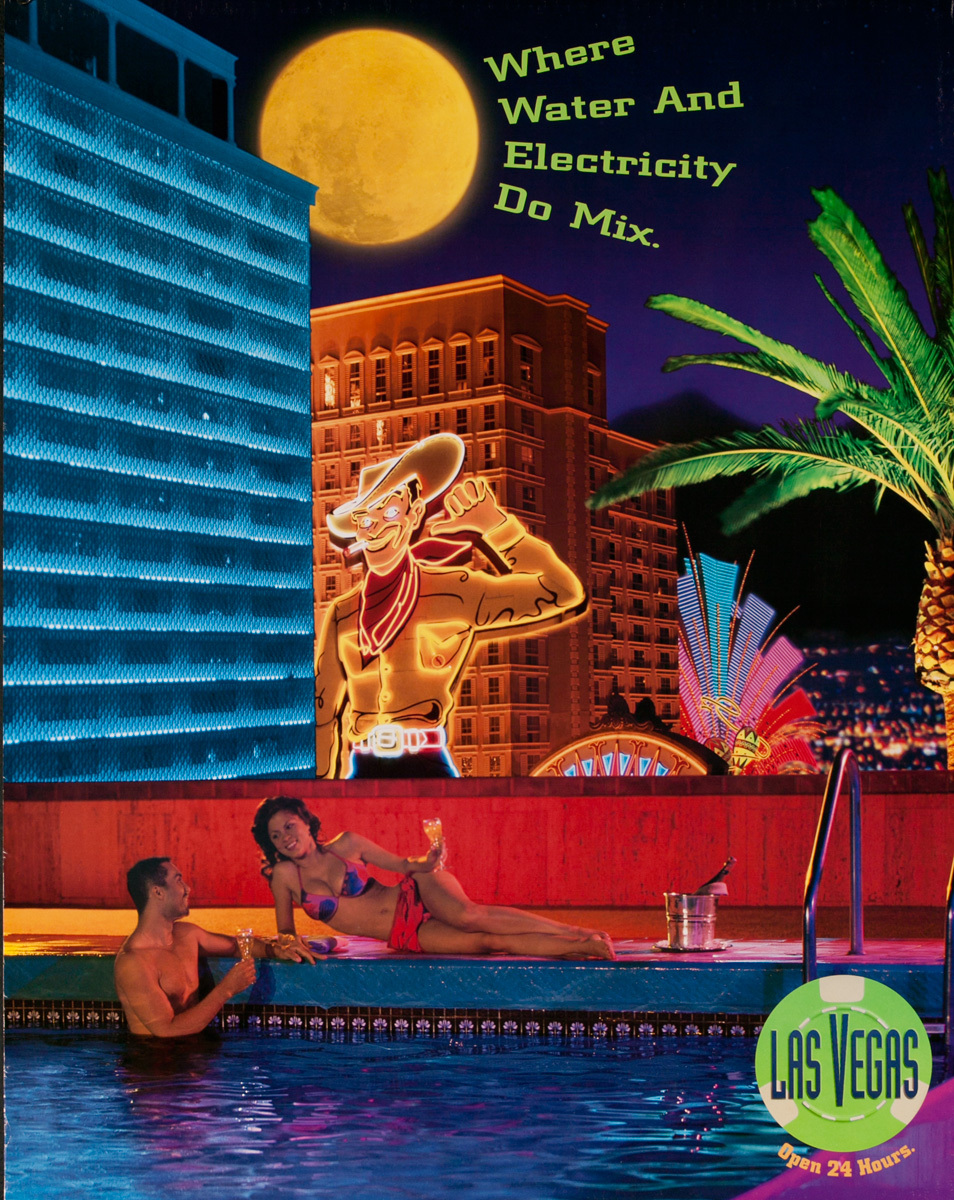 Las Vegas Open 24 Hours, Original American Travel Poster, Where Water and Electricity Do Mix