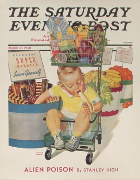 Saturday Evening Post April 31, 1940 Original Vintage Magazine Poster Super Market, kid in cart