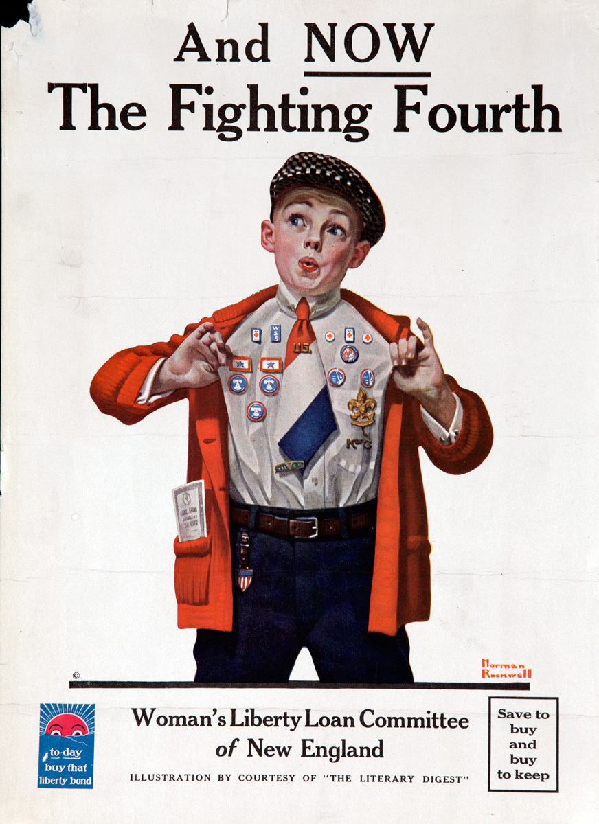 And Now The Fighting Fourth, Original WWI Bond Poster Boy Scout