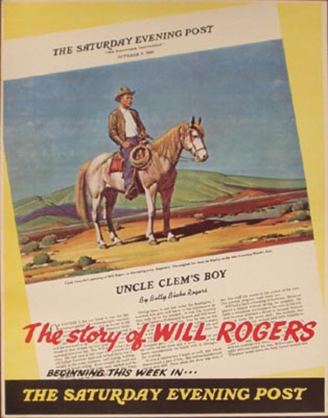 Saturday Evening Post  Original Vintage Magazine Poster, The Story of Will Rogers