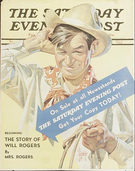 Saturday Evening Post Original Advertising Poster Will Rogers
