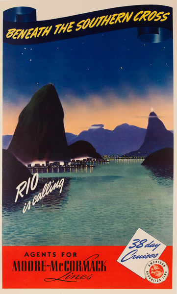 Beneath the Southern Cross, Original Moore-McCormack Lines Cruise Ship Poster Rio Is Calling