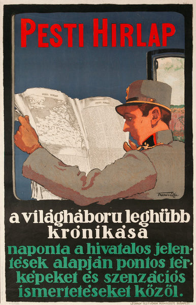 Pesti Hirlap, The Busapest Herald, The Most Faithful Chronicler of the World War, Original Hungarian WWI Poster