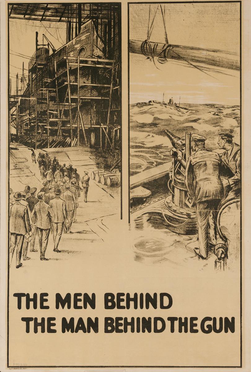 The Men Behind The Man Behind The Gun, Original British WWI Poster