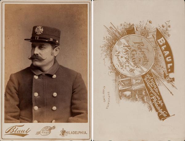 Original Philadelphia Fireman Cabinet Card, Blaul