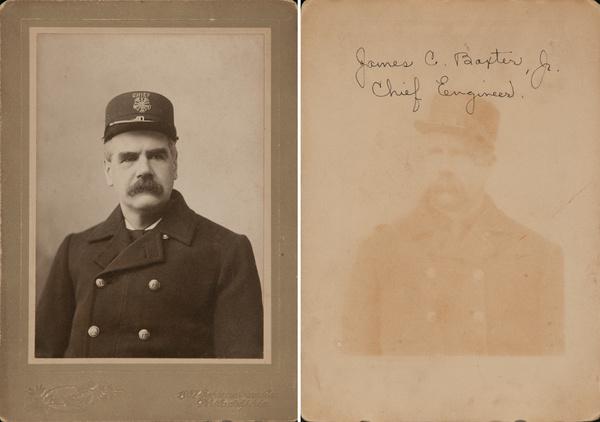 Original Philadelphia Fireman Cabinet Card, Identified James C Baxter, Jr Chief Engineer