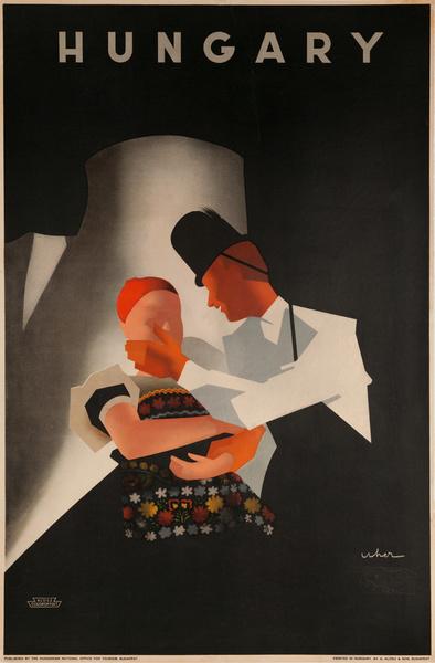 Original Hungarian Travel Poster, Hungary, Dancing Couple