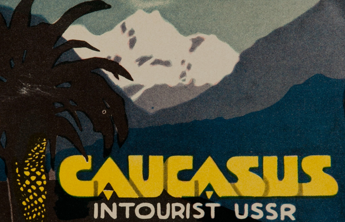 Caucascus Intourist USSR Original Luggage Label