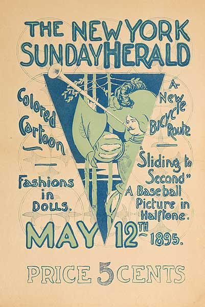 New York Sunday Herald Sliding To Second A Baseball Picture in Halftone Original American Literary Poster