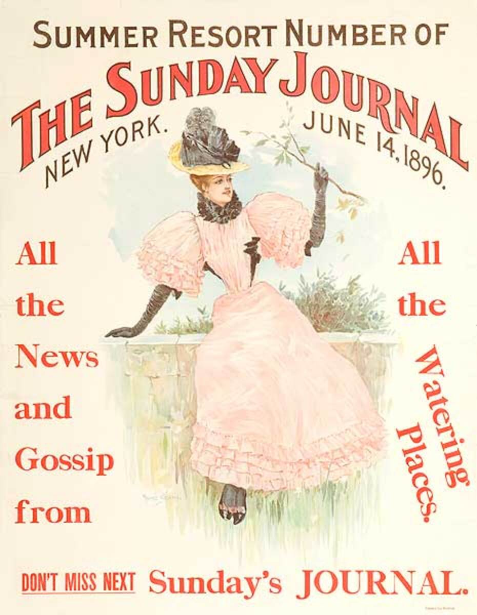 The Sunday Journal Summer Resort Number Original American Literary Poster