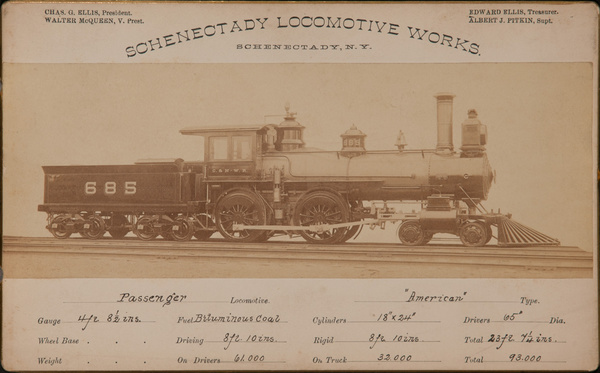 Schenectady Locomotive Works Original 19th Century Railroad Specification Card Photo, Passenger Locomotive American Type, Number 685